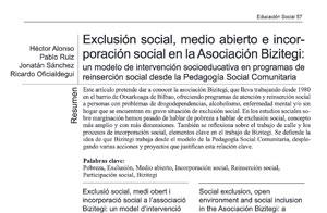 Exclusión social, medio abierto e incorporación social en la Asociación Bizitegi: Un modelo de intervención socioeducativa en programas de reinserción social desde la Pedagogía Social Comunitaria.